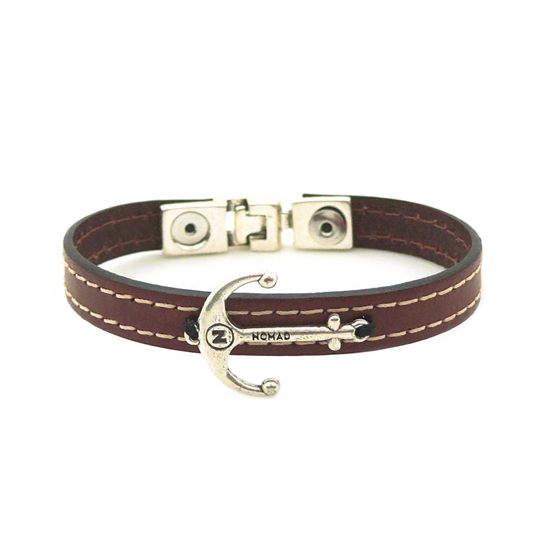 bracelet cuir homme nomad taille l marron clair ancre de. Black Bedroom Furniture Sets. Home Design Ideas