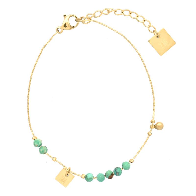Bracelet doré Zag Bijoux petites perles facettées de turquoise africaine