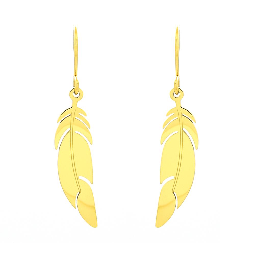 grossiste ed1c4 d7e76 Boucles d'oreilles Zag Bijoux doré jaune plume